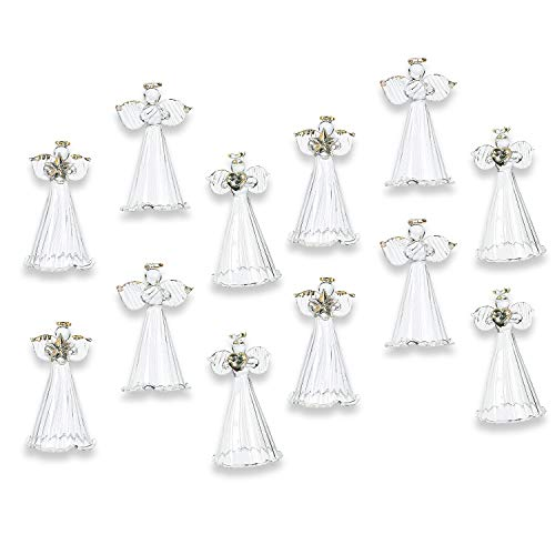 Angel Ornaments For Christmas Tree (Fun Express Spun Glass Angel Ornaments with Star/Heart/Praying Hands (Set of 12) Christmas Religious)