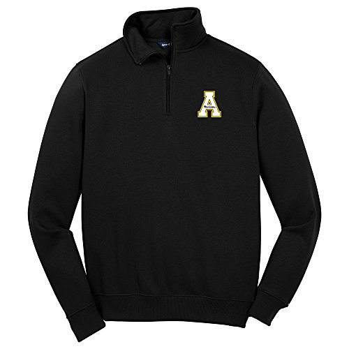 Campus Merchandise NCAA Appalachian State Mountaineers Men's 1/4 Zip Pullover, X-Large, Black