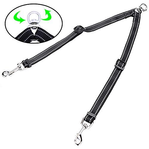 Snagle Paw Tangle Free Double Dog Leash Coupler, No Tangle Double Dog Walking & Trainning Leash, Adjustable 3/4