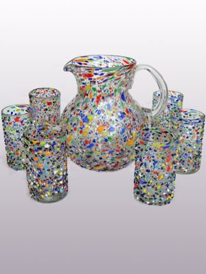 Mexican Blown Glass Pitcher and 6 Drinking Glasses Confetti Rocks MexHandcraft