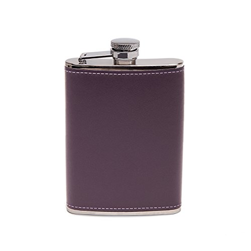 Ettinger Sterling Collection Captive Top Leather Bound Hip Flask, 6 Ounces - Purple/Silver by Ettinger
