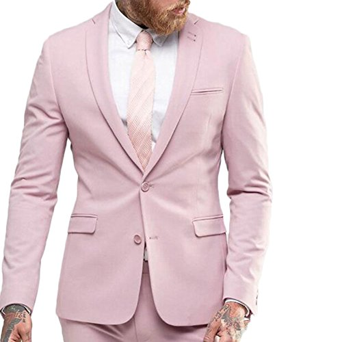 Ak Beauty Men S 2 Piece Suits Groom Business Formal Wedding Groom Tuxedo Jacket Pants 38 Chest 32 Waist Light Pink Buy Online In Bahamas Ak Beauty Products In Bahamas