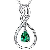 Jewelry March Birthstone Aquamarine Swarovski Necklace Sterling Silver Birthday Gift for Women