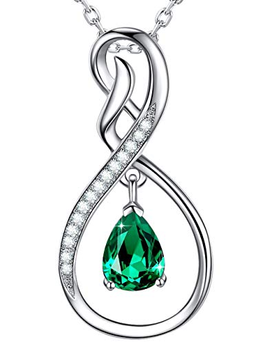 Fine Jewelry Created Green Emerald Necklace Birthday Gifts Mom Women Girls Her Sterling Silver ❤️ Forever Love ❤️ Infinity Jewelry for Women