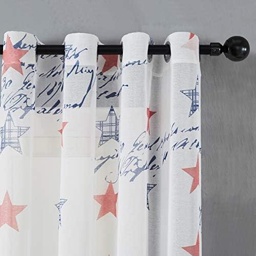 Topfinel Voile Gardinen mit /Ösen Vorh/änge mit Roten und Blauen Sternen Transparent Dekoschal f/ür Wohnzimmer Kinderzimmer 2er Set je 140x160cm