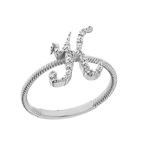 Women's 14k White Gold Diamond Script Initial Letter K Stackable Rope Design Ring (Size (14k White Gold Initial Ring)