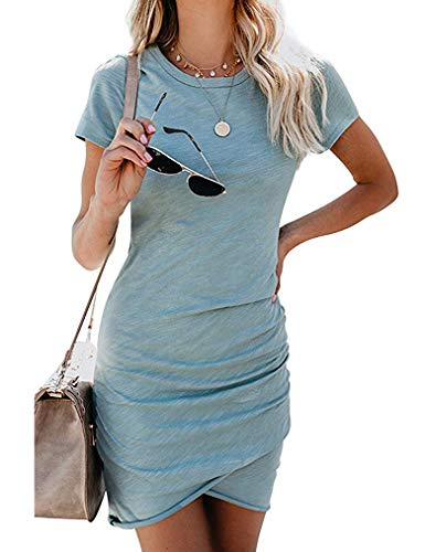 Women's 2021 Summer Casual Crew Neck Ruched Stretchy Tulip Hem Bodycon Short Mini Dress T Shirt Sheath Dresses