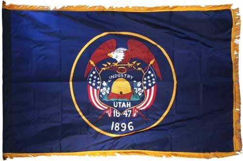 Utah 3x5ft Nylon Flag with Indoor Pole Hem and (Nylon Utah State Flag)