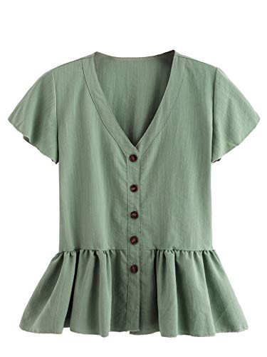 Verdusa Women's Casual V Neck Single Breasted Ruffle Hem Peplum Blouse Tops Green M ()
