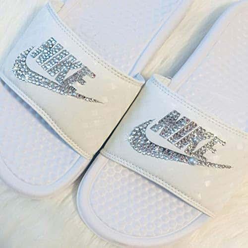 a02166317c558 Swarovski Nike Slides Wedding All White Sandals Slip On Custom Bedazzled  Shoes By SparkleBoutique2U