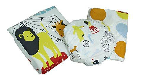 at The Circus Polka Dot 3 Piece Crib Sheet Skirt Comforter Bedding ()