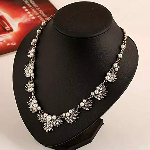 ohemia Style Pearl Necklaces & Pendants Luxury Crystal Flower Choker Bib Statement Necklace for Wedding Party NJ-182 ()