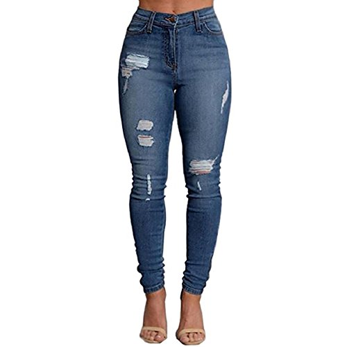 Gemgeny Women Skinny Denim Sexy Hole Jeans Distressed Jeans Tron Boyfriend Stylish Pencil Jeans (XL, Blue) - Ltd Denim