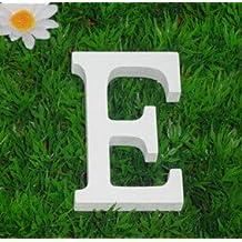 Home Decor Decoration Thick Wood Wooden White Letters Alphabet Wedding Birthday 8cmX1cm