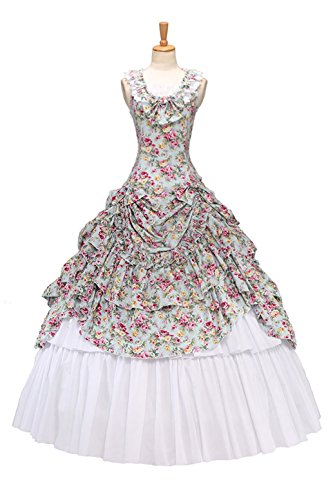 XOMO Gothic Lolita Southern Belle Civil War Sweet Lolita Ball Gown Dress Beige S -