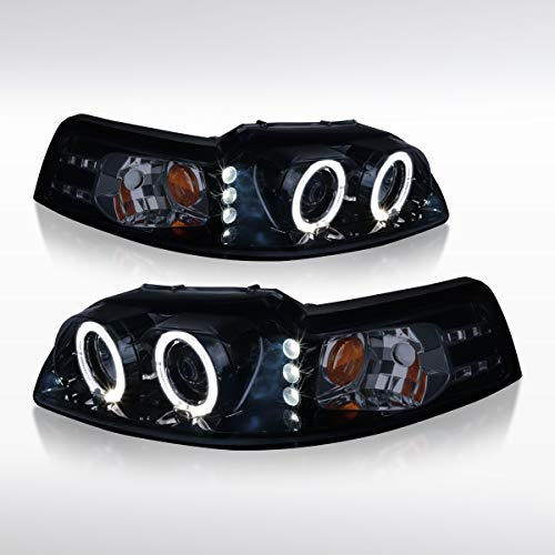(Autozensation [Glossy Black] Ford Mustang Dual Halo LED Projector Headlight Pair)
