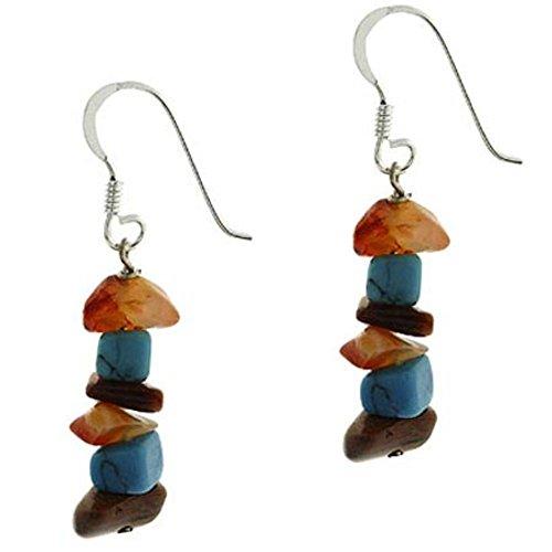 Burts beads - 925 Silver Carnelian, Tiger Eye and Created Turquoise Chip Earrings YRS 0657 (Carnelian White Earrings)