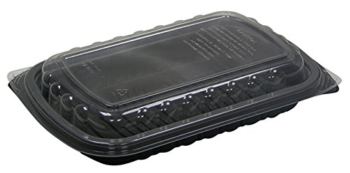 Pactiv ClearView MealMaster 1/2 Rack Rib Containers, Clear/Black L 10