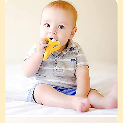 JINGYANHUA Safe Baby Teether Toys Toddle BPA Free Banana Teething Ring Silicone Chew Dental Care Toothbrush Nursing Beads Gift for Infant: Home & Kitchen