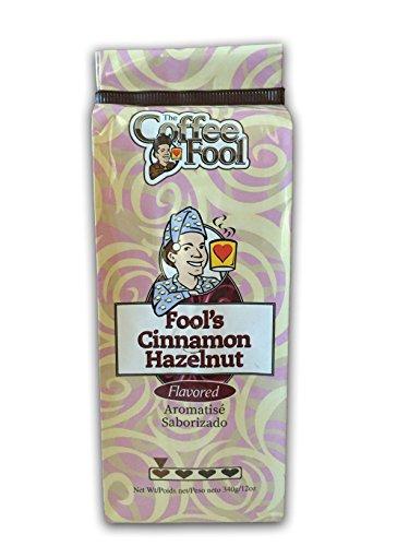 Flavored Coffee 12 Drip Oz - The Coffee Fool Drip Grind Coffee, Fool's Cinnamon Hazelnut Strong, 12 Ounce