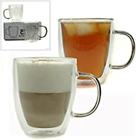 Set of 2 Tea/Coffee Mugs from AMCO Direct made from Double Walled Clear Borosilicate Glass Suitable for Hot/Cold drinks, Tea, Coffee, Latte, Cappuccino, Macchiato, Hot Chocolate and more. Insulated design which is Transparent & Microwave Safe