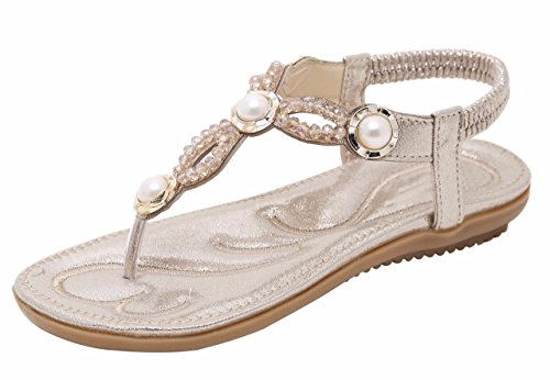 Jiu du Summer Flat Sandals for Women Rhinestone Comfor Flip Flop Walking Shoes Gold Sequin Size US9.5 EU42 (Sequin Straps Flip Flop Sandals)