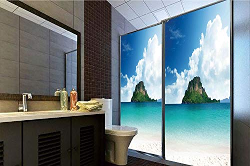 (No Glue Static Cling Glass Sticker,Ocean Island Decor,Poda Island in Thailand South Asian Tropic Paradise Hot Sun with Clouds Photo,Blue White Cream,39.37