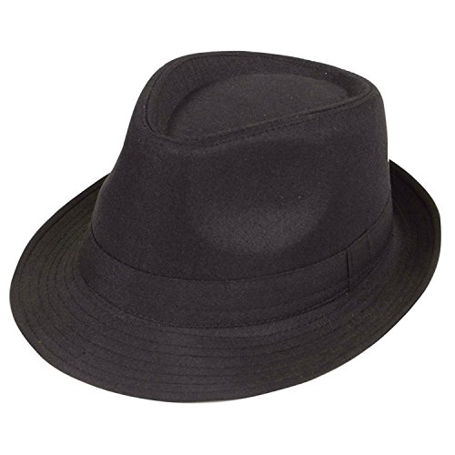 Black Twenties Film Noir Gangster Italian Mafia Fedora 20s Costume Hat (Italian Gangster Costumes)
