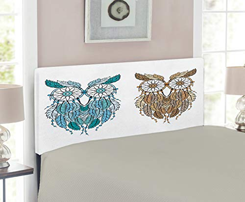 Headboard Twin Magic Room - Ambesonne Owl Headboard for Twin Size Bed, Dreamcatcher Style Owl Tribal Ethnic Features Magic Farsighted Birds Artsy Print, Upholstered Decorative Metal Headboard with Memory Foam, Cream White Teal