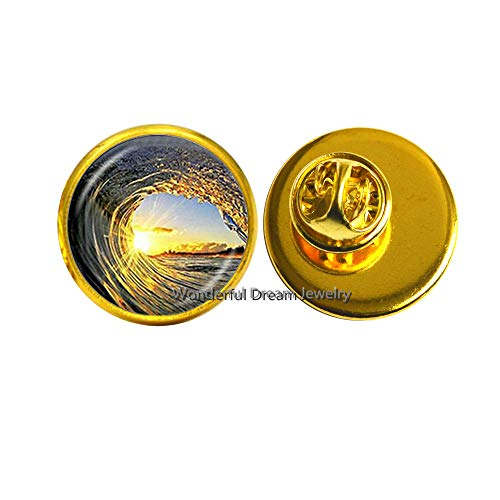 (Waves and Sunset Pin,Wave Brooch,Surf Surfing Ocean Jewelry,Surfing Pin,Glass Cabochon,PU238)