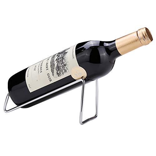 (Ibnotuiy Set of 2 Metal Tabletop Single Bottle Wine Rack Minimalist Wine Holder (Silver))