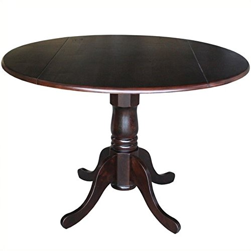 - International Concepts Round Dual Drop Leaf Pedestal Table, 42-Inch, Rich Mocha