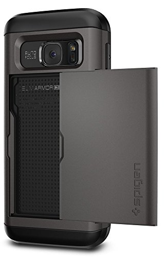 Metal Slider Case - Spigen Slim Armor CS Galaxy S7 Case with Slim Dual Layer Wallet Design and Card Slot Holder for Samsung Galaxy S7 2016 - Gunmetal