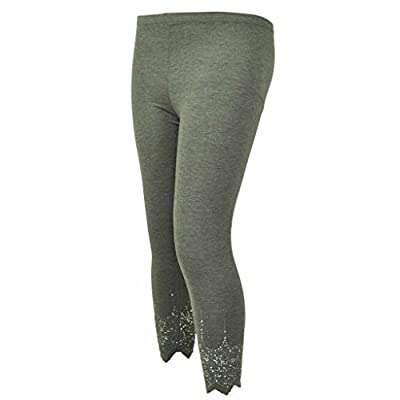H&F Girls Femmes Uni Sequin Perles Bas élastique àÉlastique Coupe Laser serré Pantalon Leggings Vraiment Grande 14 16 18 20 22 24 26 28 XL-XXL-XXXL - Gris, 18