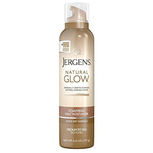 Jergens Natural Glow Foaming Daily Moisturizer for Body, Medium to Tan Skin Tones, 6.25 - Mousse Tan Instant