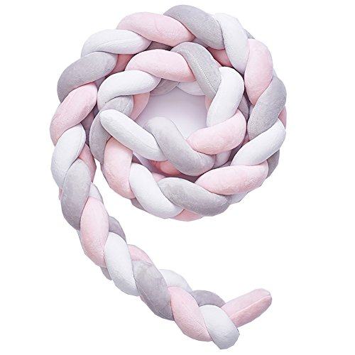 (Soft Knot Pillow Decorative Baby Bedding Sheets Braided Crib Bumper Knot Pillow Cushion (White+Gray+Pink, 157.48 inch))