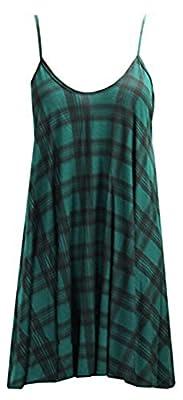 FashionMark Women's Plus Size Strappy Tartan Check Print Flared Swing Dress Top Vest
