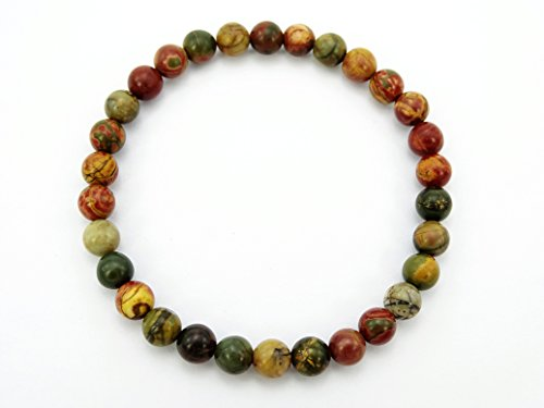Picasso Bead Bracelet - jennysun2010 Handmade Natural Picasso Jasper Gemstone Smooth Round Loose Beads 6mm Stretchy Bracelet Healing  7'' Inches Wrist ( 30pcs Beads in The Bracelet )