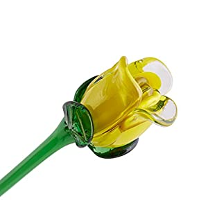 "Yellow Glass Rose Bud, One-of-a-kind. Our best seller. Life Size 20"" long. FREE SHIPPING to the lower 48 when you spend over $35.00 71"
