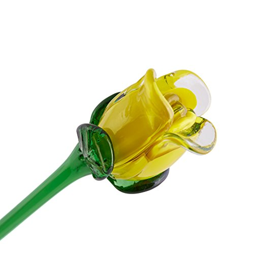 Yellow Glass Rose Bud, One-of-a-kind. Our best seller. Life Size 20