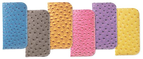 3 Pack Soft Slip In Eyeglass Cases In Faux Ostrich Leather, Mustard/Purple/Yellow