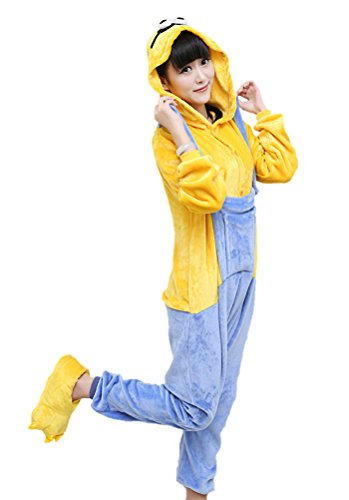 [Horcute Unisex-adult Animal Cartoon Cosplay Kigurumi Onesie Pajamas,Minion-Female] (Minion Female Costumes)