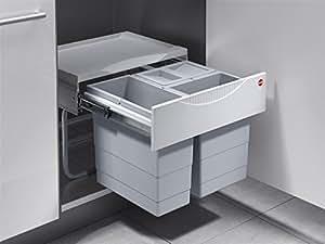 Hailo Tandem S 3 - Sistema de cubos de basura (3 unidades, para puerta giratoria, con extracción total, 2 x 8,5 l y 1 x 12 l, 50 cm)