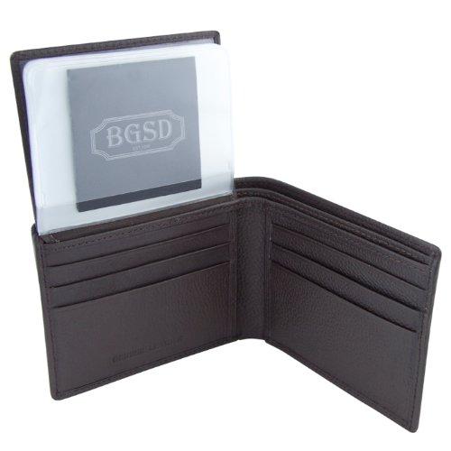 Men's Classic Bifold Dark Passcase Brown Pebble BGSD Grain Leather Wallet BxdwRdO