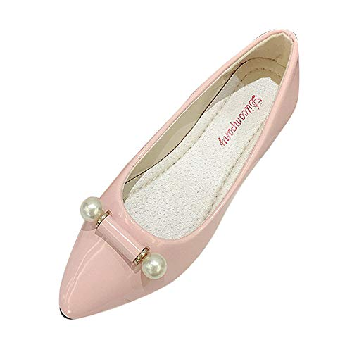 Hengshikeji Shoes for Women Pointed Toe Single Shoes Shallow Loafers Low  Heel Comfortable Pregnant Flats Shoes Pink