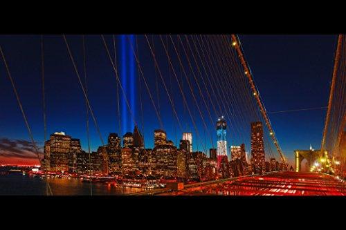 World Trade Center Memorial Tribute in Light Photo Art Print Poster 18x12 inch