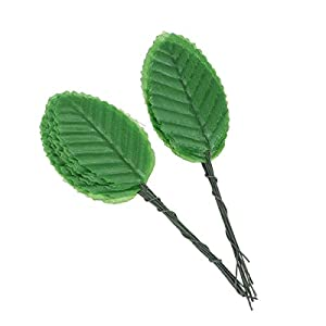 Toyvian 100pcs Artificial Rose Leaves Fake Silk Flower DIY Garland Craft Ornament Accessory for Birthday Wedding Party Table Vase Decor Centerpieces (Grass Green) 48