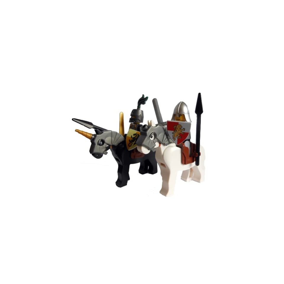 LEGO 2 Knights on Horses Minifigures with Armor, Weapons & Shields