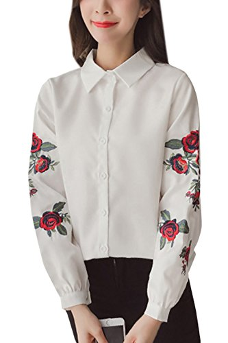 Broderie et Haut Blouses Chemisiers Longues Manches Printemps Fashion Tops Revers Lache Femme Chemise Casual Automne Shirt Blanc T 7YWAd4
