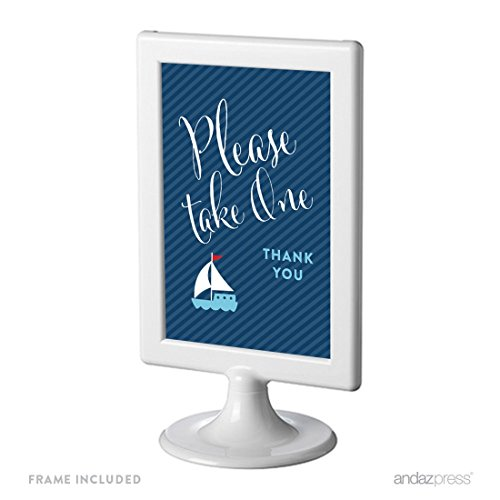 Andaz Press Birthday and Baby Shower Framed Party Sign, Double-Sided 4x6-Inch, Please Take One Party Favors Table Signage, Nautical Anchor and Sailboat, 1-Pack, Includes Frame